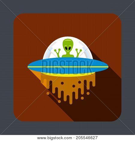 Ufo in space concept background. Cartoon illustration of ufo in space vector concept background for web design