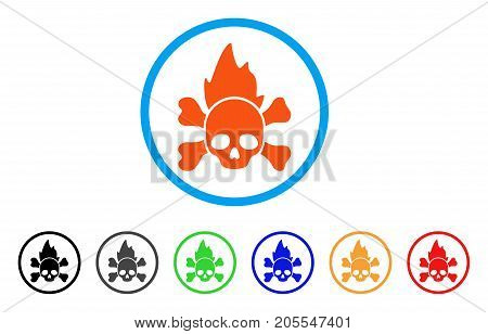 Hellfire rounded icon. Style is a flat hellfire orange symbol inside light blue circle with black, gray, green, blue, red, orange versions. Vector designed for web and software interfaces.