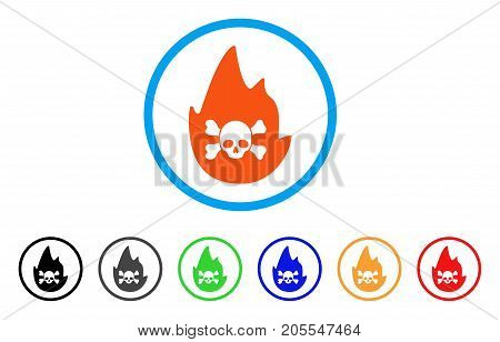 Hellfire rounded icon. Style is a flat hellfire orange symbol inside light blue circle with black, gray, green, blue, red, orange variants. Vector designed for web and software interfaces.