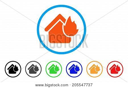 Home Fire Disaster rounded icon. Style is a flat home fire disaster orange symbol inside light blue circle with black, gray, green, blue, red, orange versions.