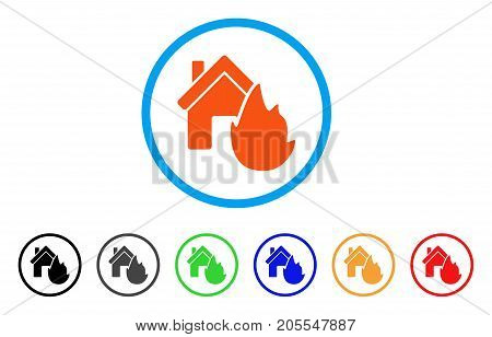 House Fire Disaster rounded icon. Style is a flat house fire disaster orange symbol inside light blue circle with black, gray, green, blue, red, orange variants.