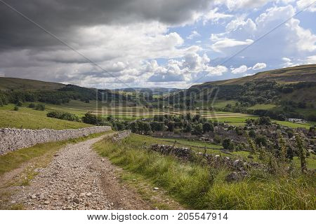 View over Kettlewell village in Wharfedale Yorkshire Dales National Park England.