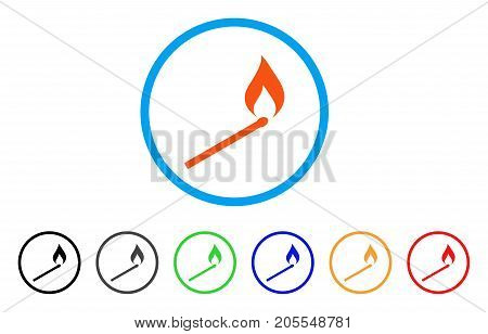 Match Ignition rounded icon. Style is a flat match ignition orange symbol inside light blue circle with black, gray, green, blue, red, orange versions. Vector designed for web and software interfaces.