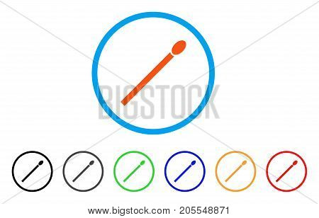 Match rounded icon. Style is a flat match orange symbol inside light blue circle with black, gray, green, blue, red, orange versions. Vector designed for web and software interfaces.