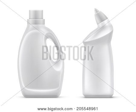 Household chemicals blank plastic bottles with handle and bent tip realistic vector isolated on white background. Liquid detergent or soap,  stain remover, laundry bleach, bathroom or toilet cleaner