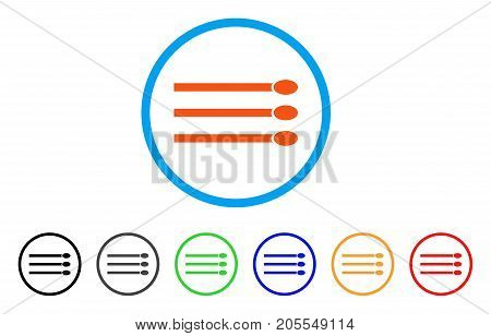 Matches rounded icon. Style is a flat matches orange symbol inside light blue circle with black, gray, green, blue, red, orange versions. Vector designed for web and software interfaces.