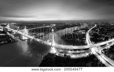 Bhumibol Bridge at night, Bangkok City, Thailand