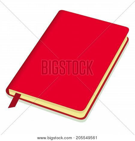 Blank Red Copybook Template With Bookmark. Vector Illustration.
