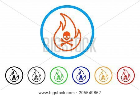 Toxic Fire rounded icon. Style is a flat toxic fire orange symbol inside light blue circle with black, gray, green, blue, red, orange versions. Vector designed for web and software interfaces.