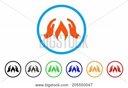 Warm Up Hands rounded icon. Style is a flat warm up hands orange symbol inside light blue circle with black, gray, green, blue, red, orange color versions.