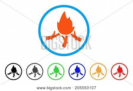 Wood Campfire rounded icon. Style is a flat wood campfire orange symbol inside light blue circle with black, gray, green, blue, red, orange color versions.