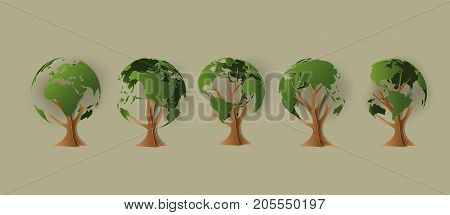 Environmental concept. Tree forming the world paper cut style.