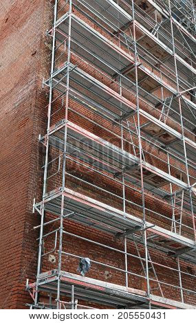 Ancient Building During Maintenance Works With The Scaffold For