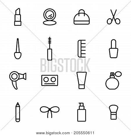 Thin Line Make Up Icons Stroke Editable