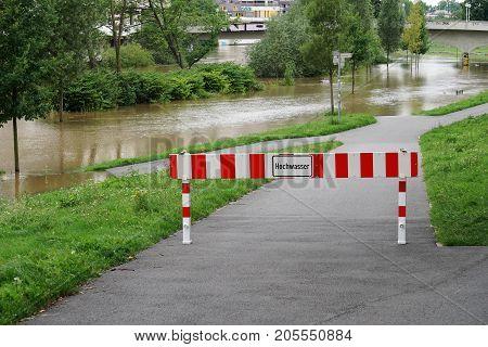 Hochwasser - German for high water - flood flooding in Hannover, Germany