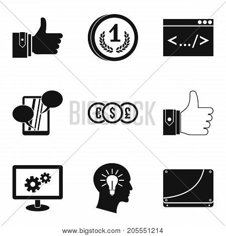 Increase in profit icons set. Simple set of 9 increase in profit vector icons for web isolated on white background