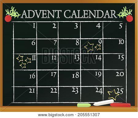 Christmas blackboard background with Advent calendar - vector illustration