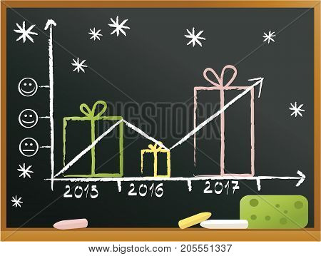 Christmas blackboard background with gifts - vector illustration