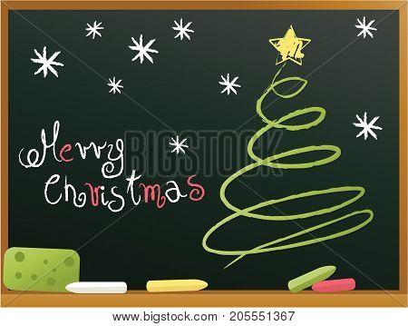 Christmas blackboard background with Christmas tree - vector illustration
