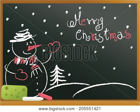 Christmas blackboard background with snowman - vector illustration