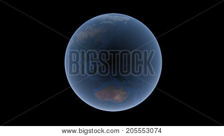 Oceans and islands between Asia and Australia on the Earth ball Mariana hollow in the center isolated globe 3D rendering elements of this image furnished by NASA