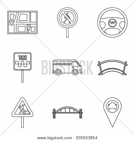 Gateway icons set. Outline set of 9 gateway vector icons for web isolated on white background