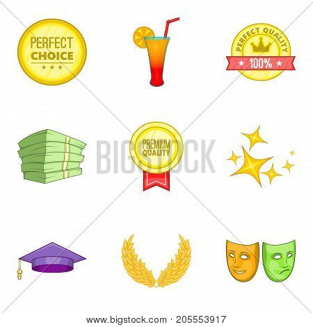 Premium quality icons set. Cartoon set of 9 premium quality vector icons for web isolated on white background