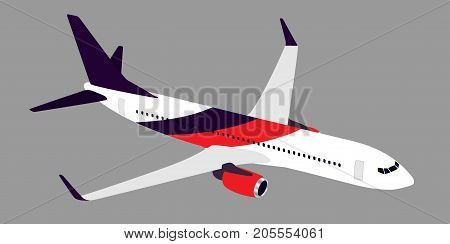 Big Passenger Airplane In Half-profile, Isolated On Gray.