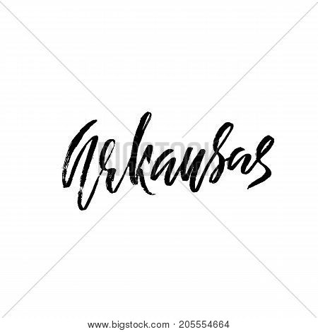 Arkansas. Modern dry brush lettering. Retro typography print. Vector handwritten inscription. USA state