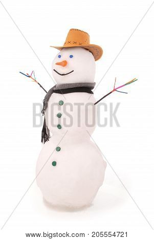 White snowman with scarf and Sheriff's hat. On white background.
