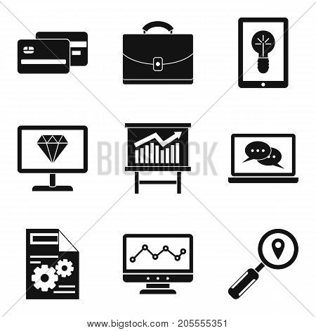 Debt icons set. Simple set of 9 debt vector icons for web isolated on white background
