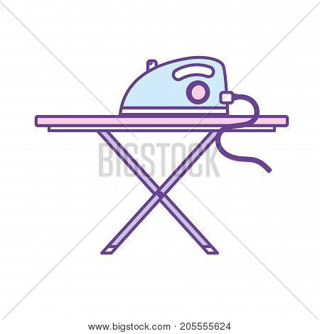 iron electrical object and ironing board vector illustration