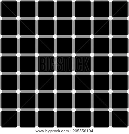Optical illusion. White circles flash on black squares and change color. Seamless pattern.