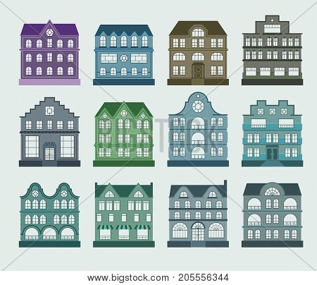 House architecture set. cute flat design home