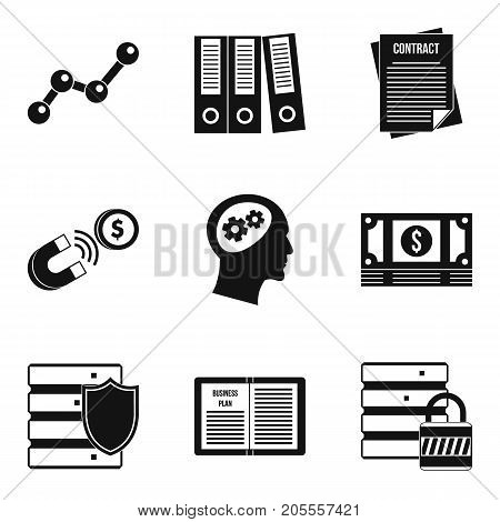 Access to data icons set. Simple set of 9 access to data vector icons for web isolated on white background