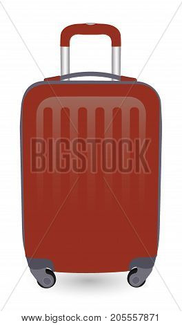 Broun Travel Plastic Suitcase With Wheels Realistic On White Background Vector Illustration.