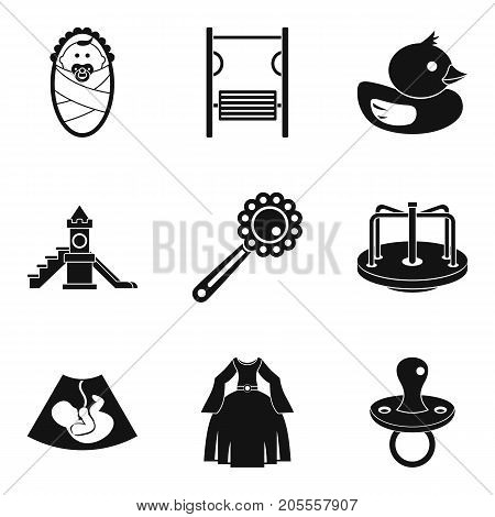 Maternity leave icons set. Simple set of 9 maternity leave vector icons for web isolated on white background