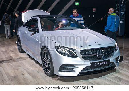 Frankfurt-September 20: Mercedes-Benz E 220 d 4 matic coupe at the Frankfurt International Motor Show on September 20 2017 in Frankfurt