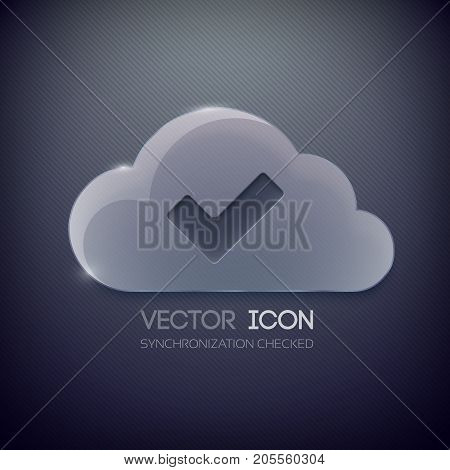 Web clean design concept with glass cloud for permitted access on striped dark background isolated vector illustration