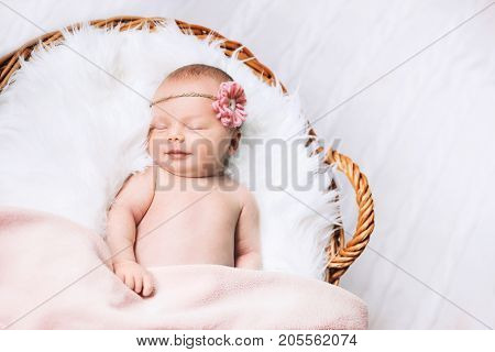 Sleeping newborn baby in a wrap on white blanket. Beautiful portrait of little child girl 10 days.
