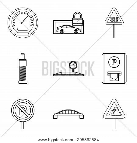 Find the way icons set. Outline set of 9 find the way vector icons for web isolated on white background