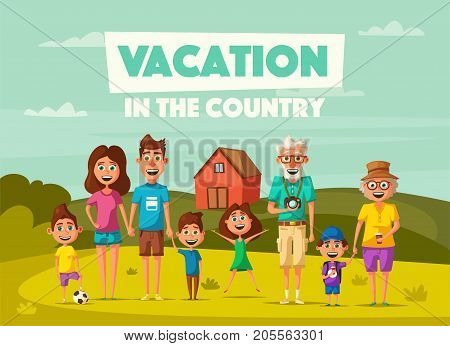 Vacation in the countryside. Cartoon vector illustration. Happy big family. Grand parents, mother, father and children. Summer, autumn or spring time. Travel and recreation