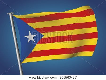 Estelada Flag Waving On The Sky Catalona Independence