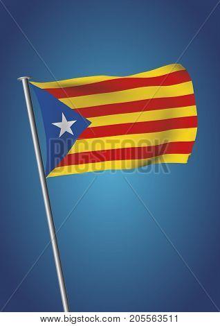 Estelada Flag Waving On The Sky Catalonia Referendum Vertical