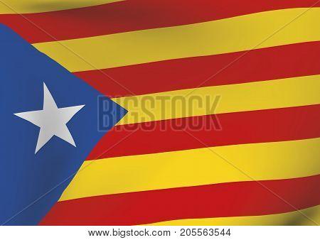 Estelada Blava Flag Waving Catalonia Indenpendentism Symbol