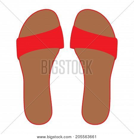 Pair Of Red Flip Flops, Leather Slippers, Summer Time Vacation Attribute, Slippers, Shoes, Vector Il