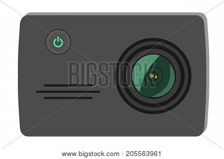 Action Extreme Camera Vector Illustration. New Model Photo, Video Camera Equipment For Filming Extre