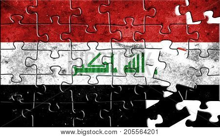 Flag of Iraq,realistic puzzle effect.