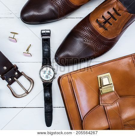Men's mans fashion and accessories wooden background