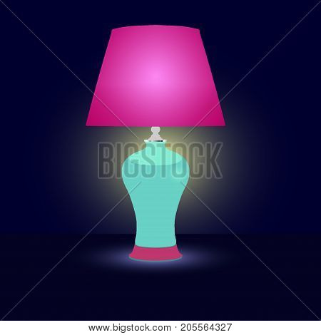 Lamp With Lampshade Luminous In The Dark. Classical Ceramic Table Lamp. Flat Vector Illustration, Is